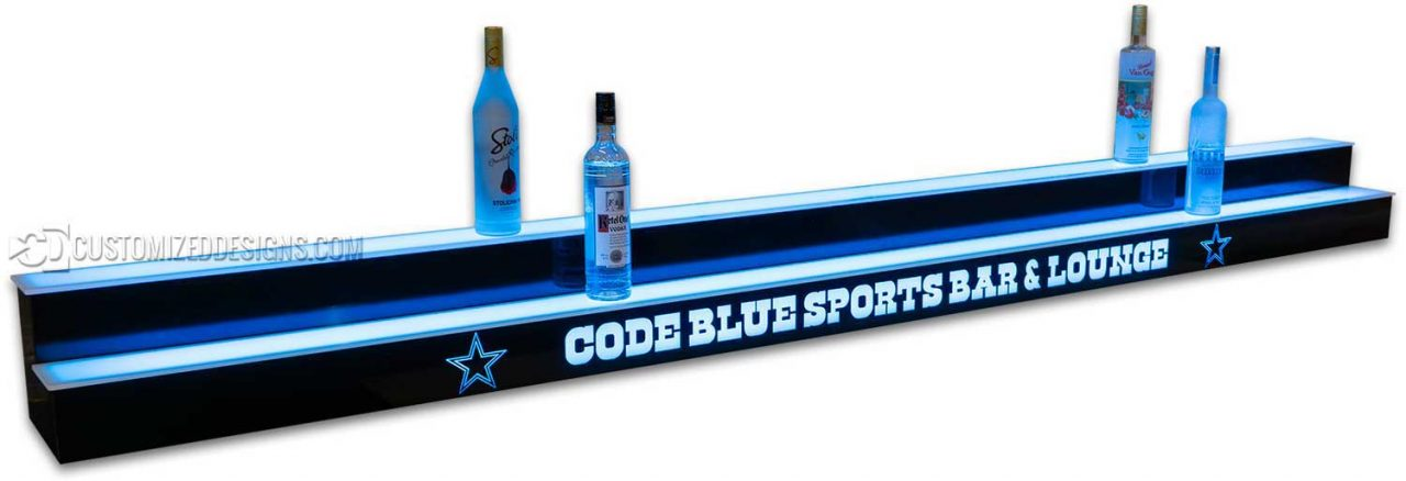 "115"" 2 Tier Liquor Display - Code Blue Sports Lounge - Dallas Cowboys Theme"