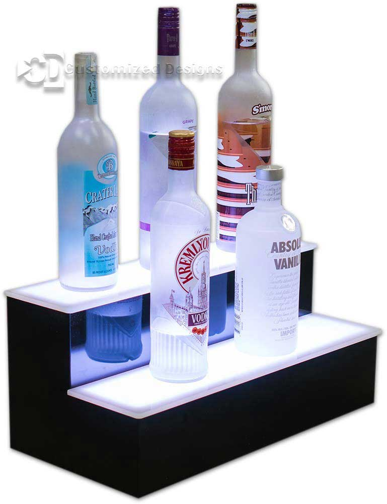 2 Tier Lighted Home Bar Shelving - White Lighting