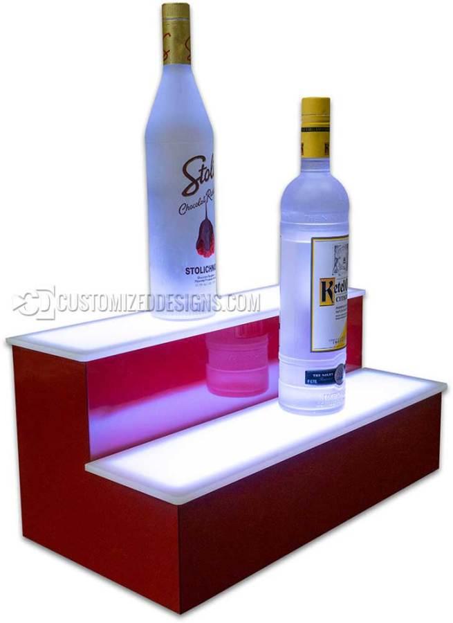 2 Step 18 Liquor Display w/ Red Finish