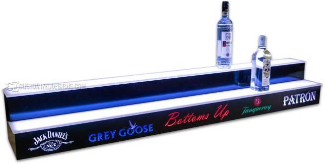 2 Tier Liquor Display w/ Liquor Logos