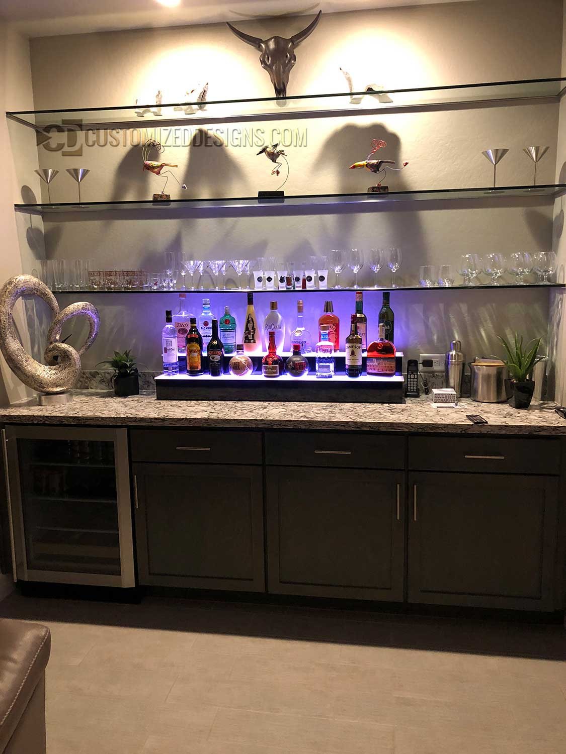 2 Step Home Bar Bottle Display w/ Glass Shelving