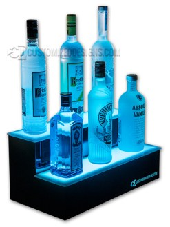 "12"" 2 Tier Liquor Display w/ Customized Designs Logo"