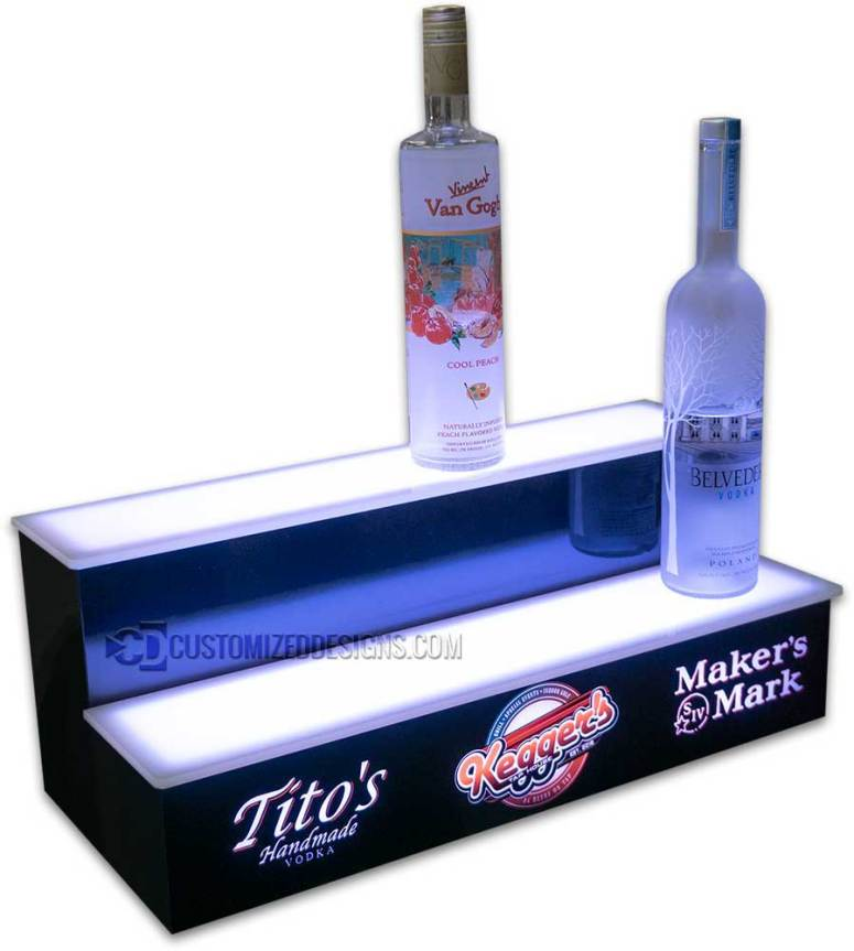 2 Tier Liquor Display w/ Titos Vodka & Makers Mark Logos