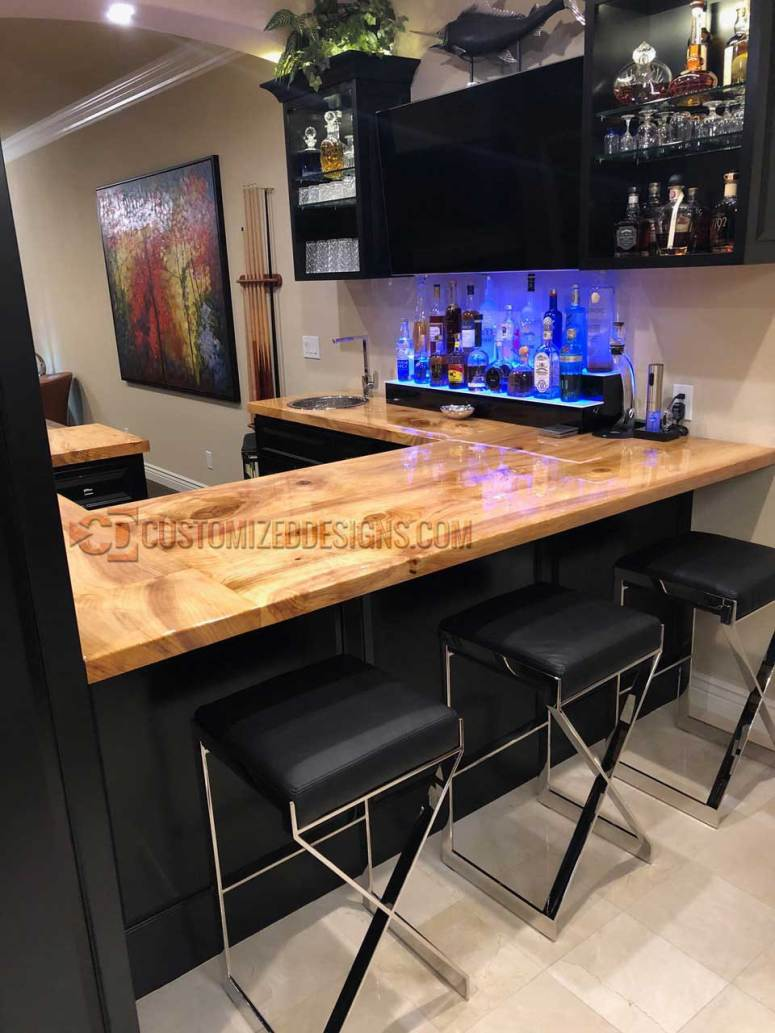 2 Tier Wood Countertop Home Bar