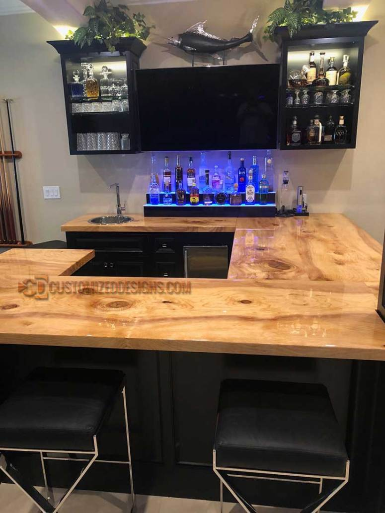 2 Tier Home Bar Display - Solid Wood Countertop