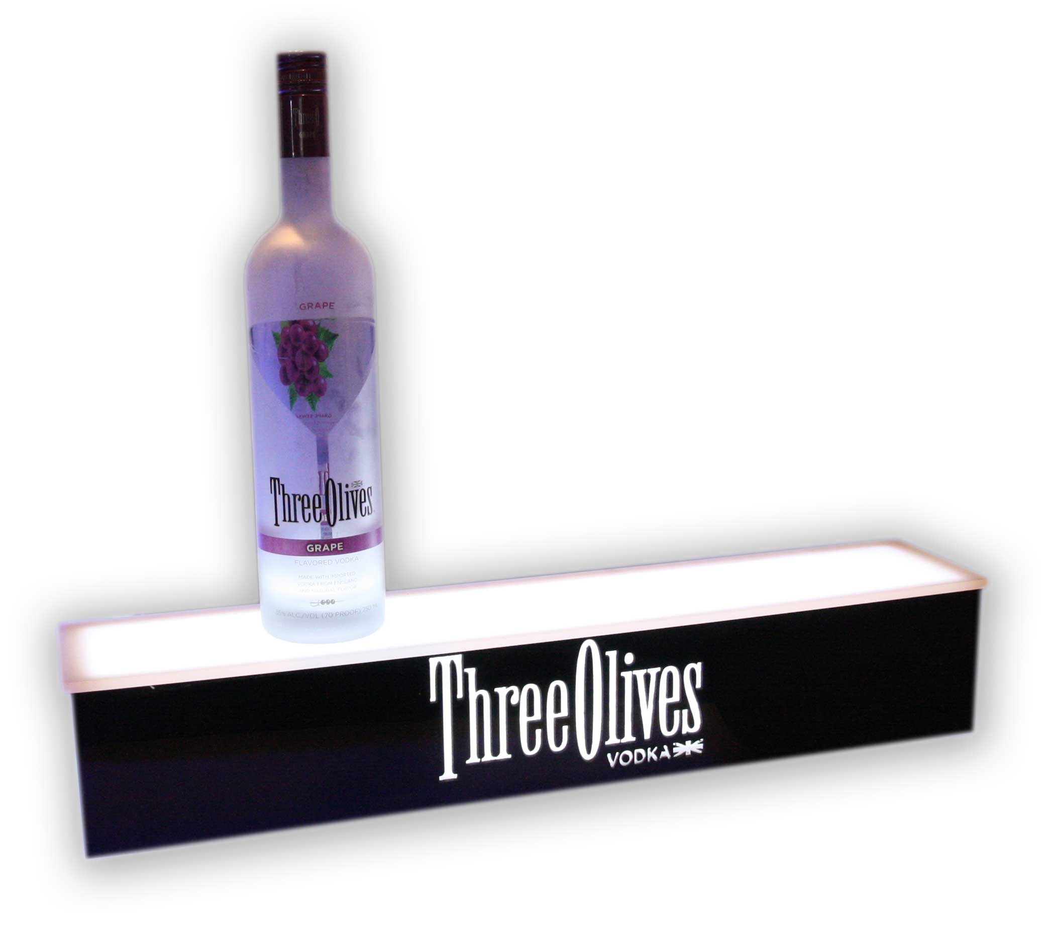 1 Tier Bottle Glorifier w/ Three Olives Vodka Logo
