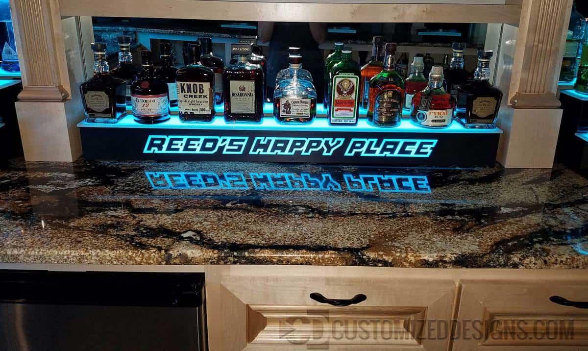 1 Tier Lighted Bar Shelving W Led Lighting Bottle