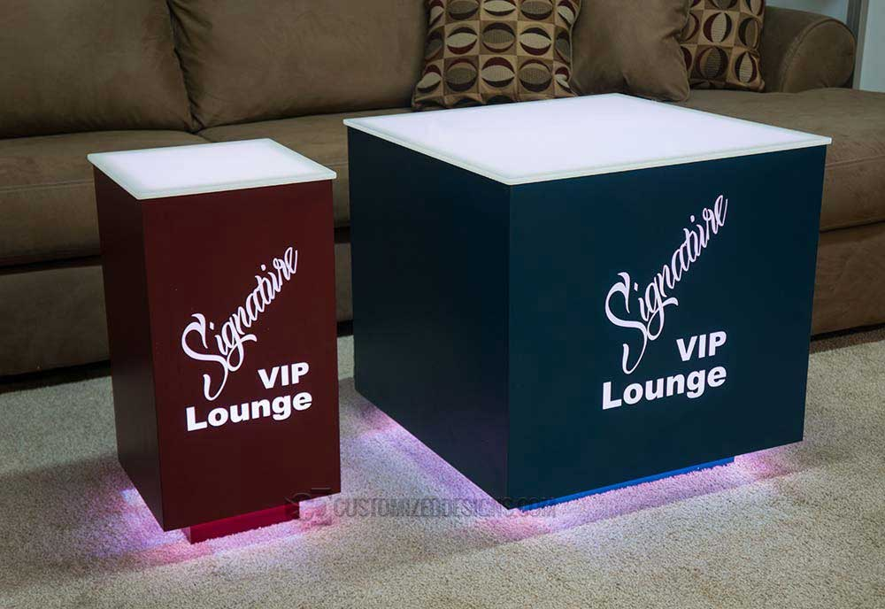 Cubix LED Tables w/ Red & Blue Finish