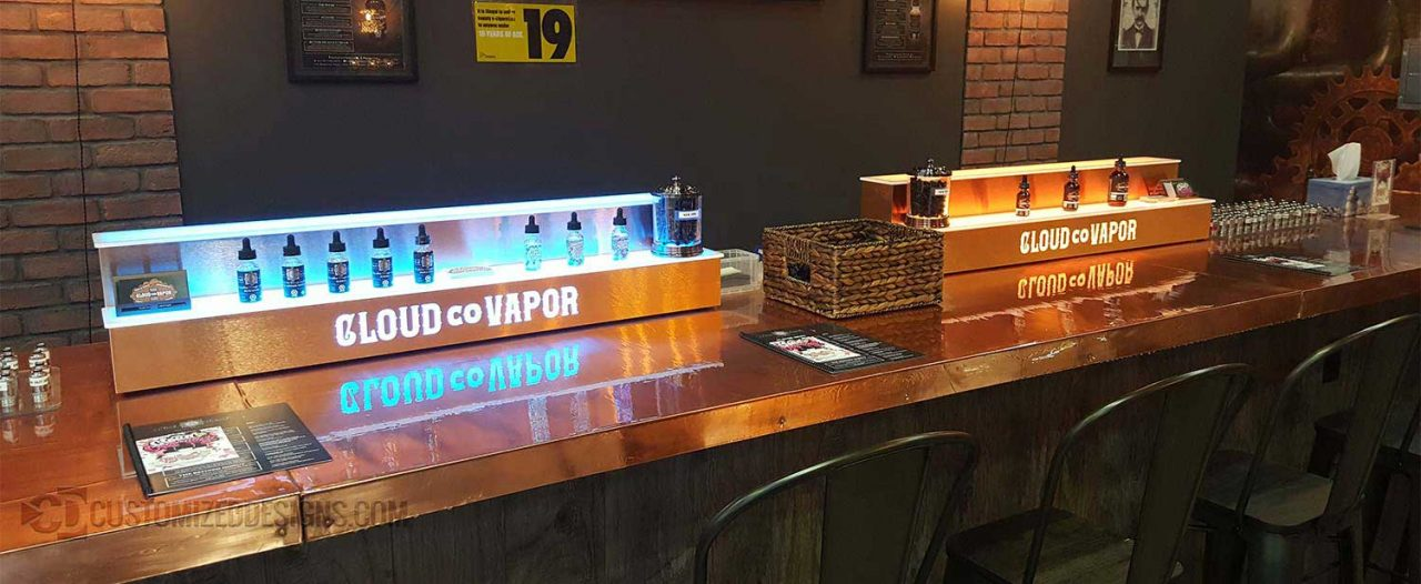 2 Tier LED Lighted Vape Store Display w/ Brushed Copper Finish