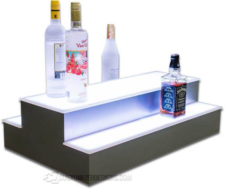 2 Tier 2 Sided Island Bottle Display w/ Stainless Finish