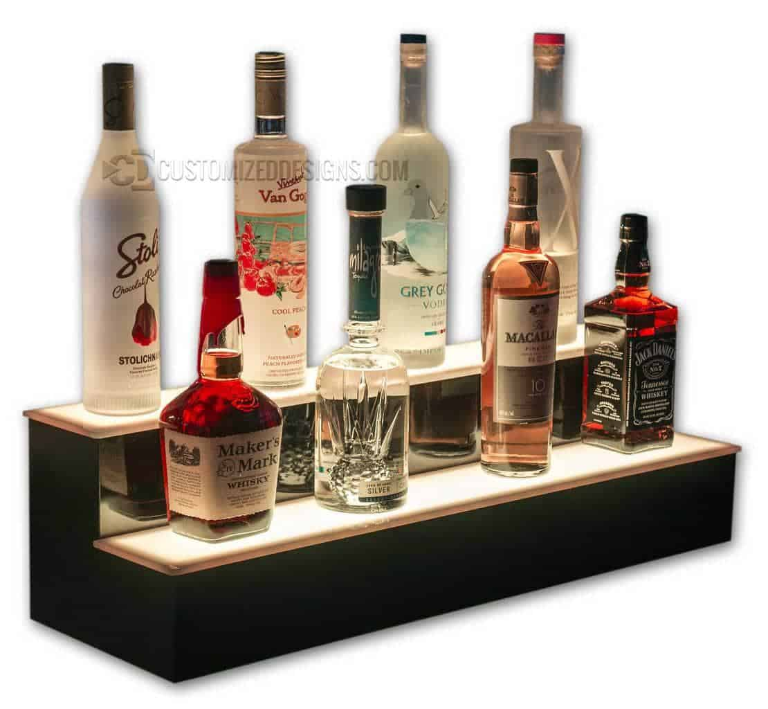 2 Tier LED Lighted Bar Shelves