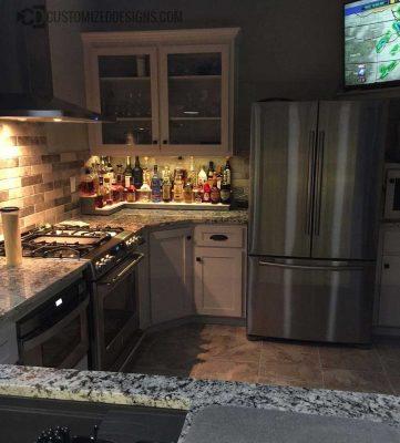 Home Bar 2 Tier Corner Liquor Display Shelf - Stainless Steel Finish