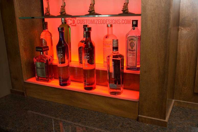 2 Tier Bottle Display w/ Oiled Cherry Wood Finish