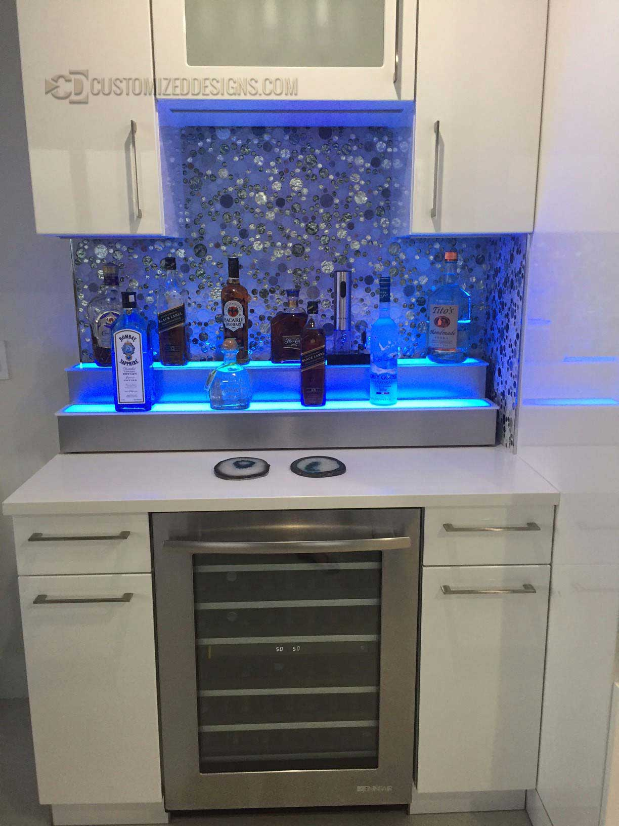 2 Tier Home Bar Display w/ Stainless Steel Finish