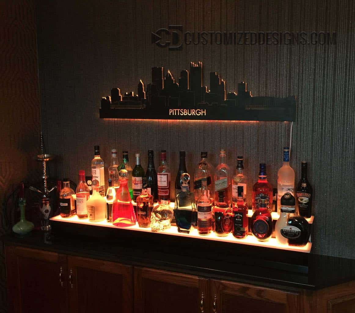 2 Tier Liquor Display & Lighted Pittsburgh Skyline