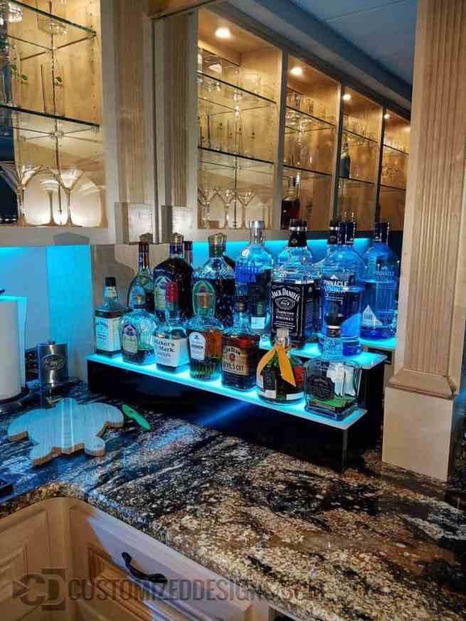 Home Bar 2 Tier Liquor Shelf w/ Cyan LED Lighting