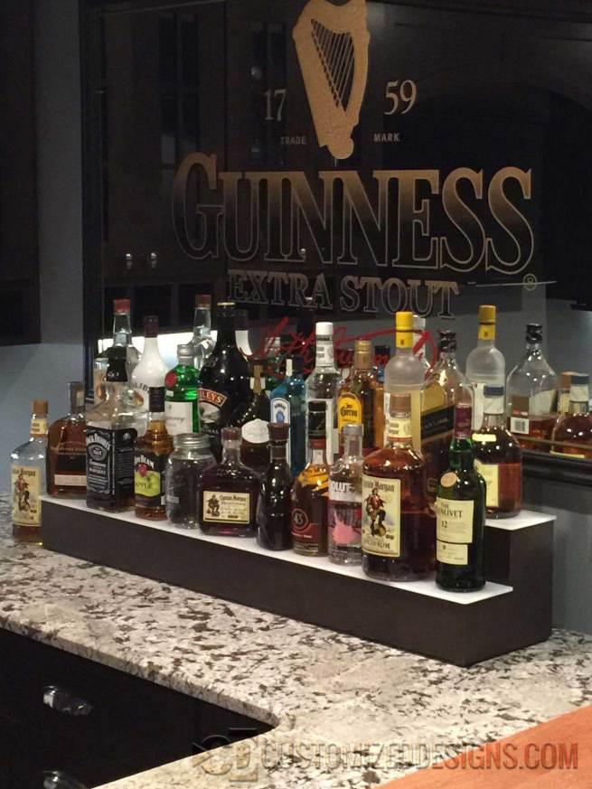 2 Tier Liquor Display w/o Lighting - Brown Finish
