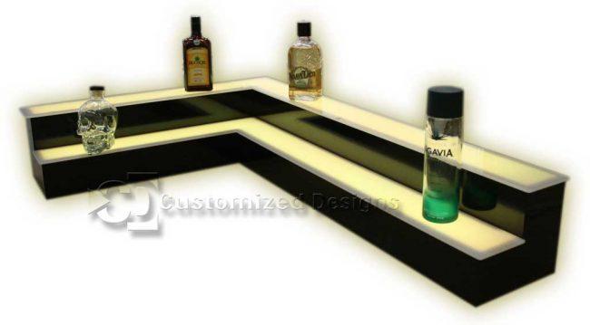 2 Tier Corner Style Bar Shelving