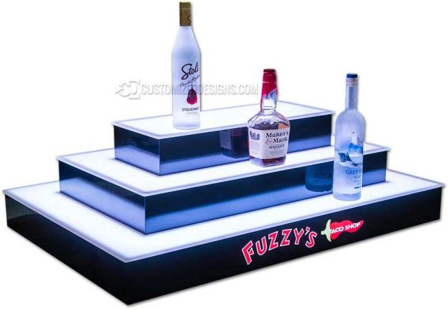 3 Step 4 Sided Island Bar Display w/ Fuzzy's Logo