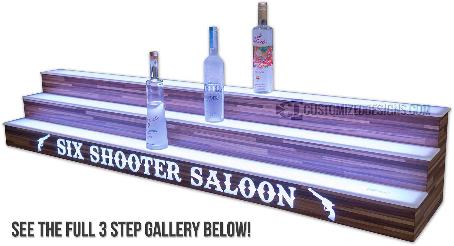 3 Tier Bar Shelves w/ Modern Edge Finish - See more pictures at the bottom of this page!