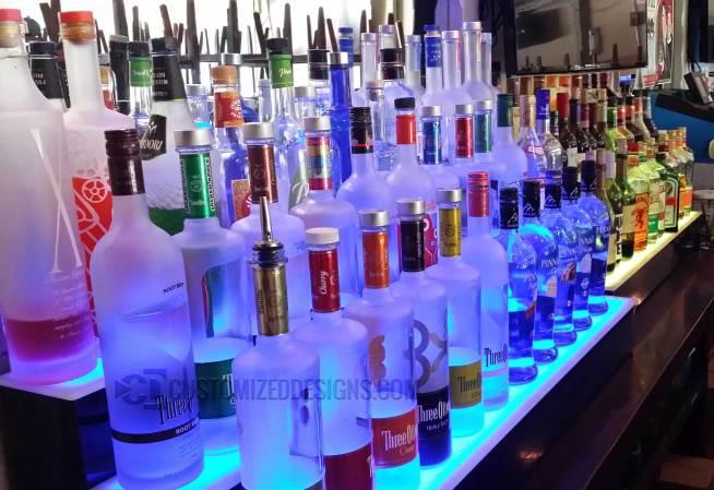 3 Step Lighted Liquor Displays