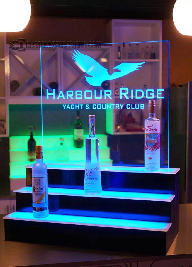 3 Tier Liquor Display with Edge Lit Logo Panel