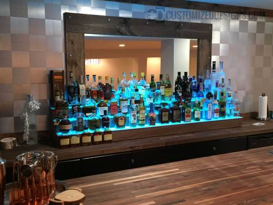 Commercial Back Bar w/ Walnut Finish