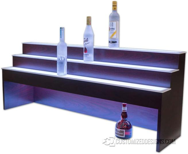 "3 Tier Raised Liquor Display - 10"" High Storage"