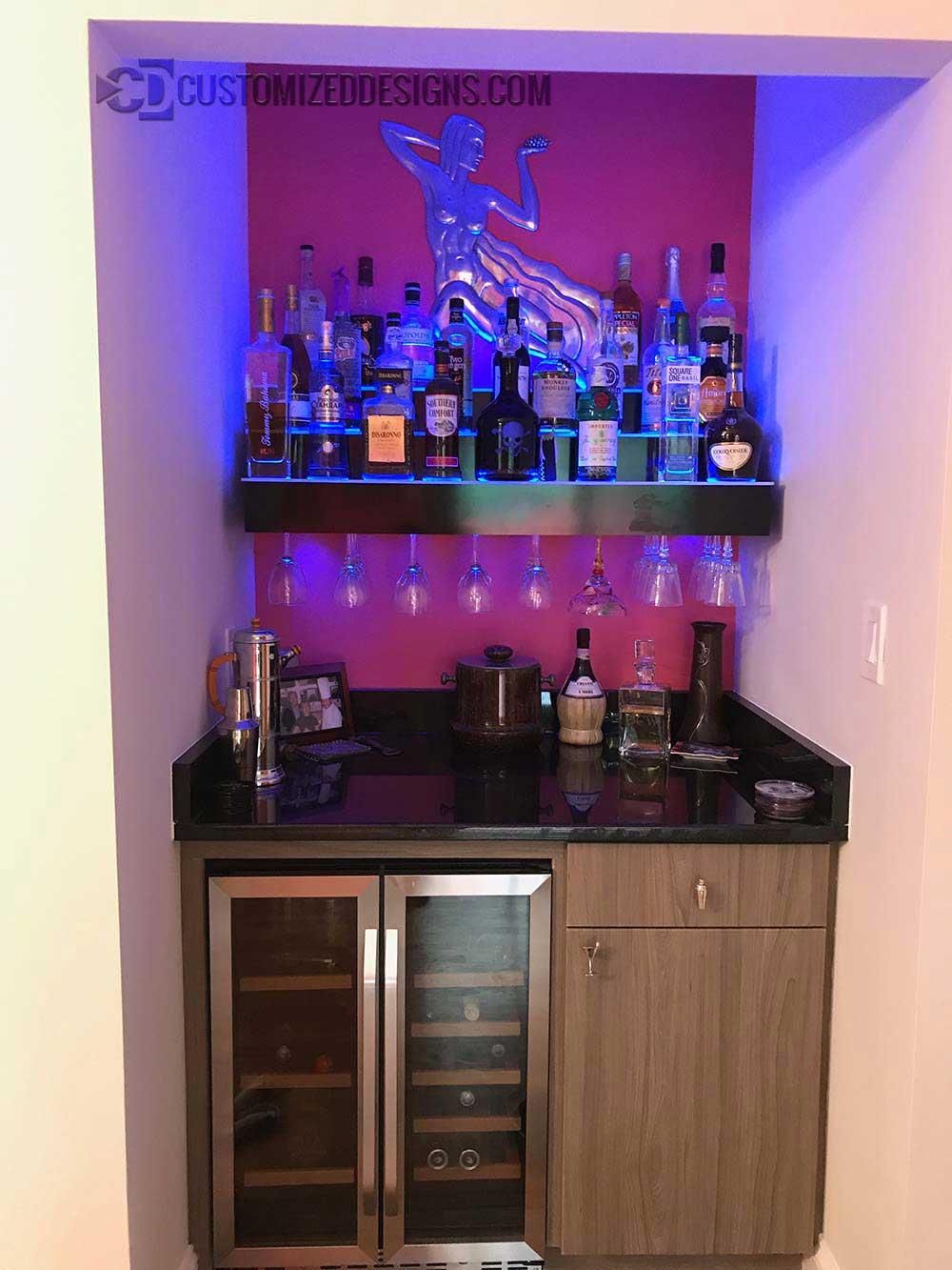 3 Tier Liquor Display w/ Wine Glass Holder