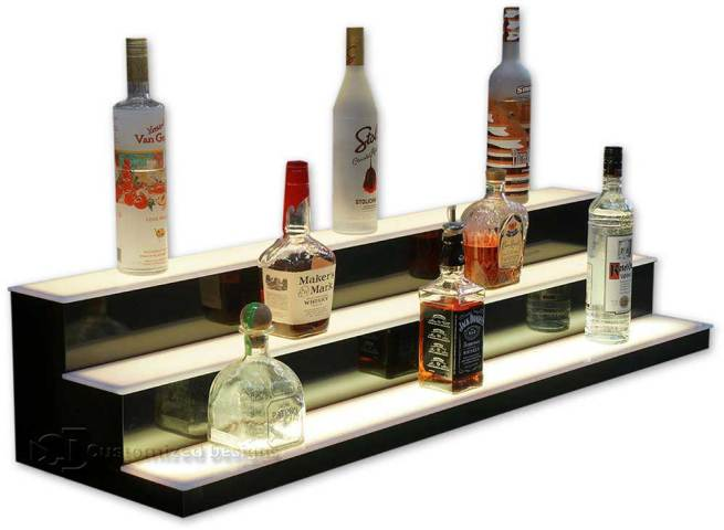 3 Step Lighted Bottle Display