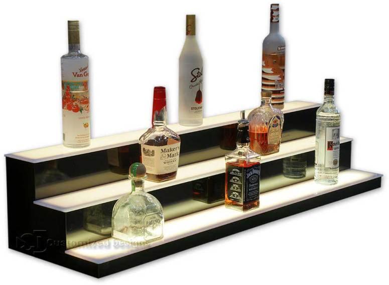 3 Step Lighted Bottle Display