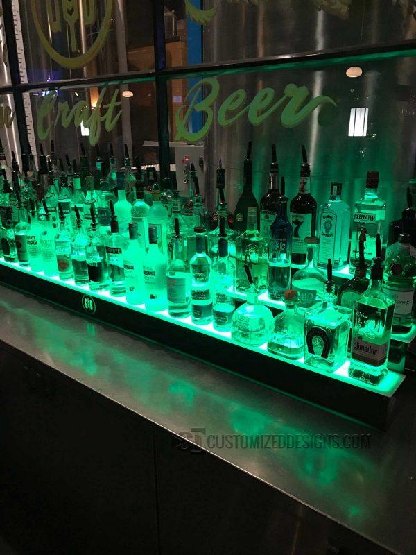 3 Tier Liquor Shelves w/ Green Lighting