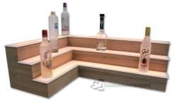 3 Tier Corner Liquor Display w/ Walnut Veneer