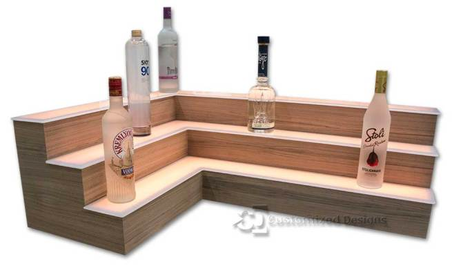 3 Tier Corner Liquor Display w/ Walnut Veneer