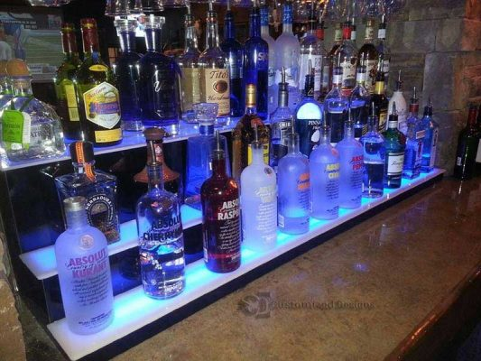 3 Step Low Profile Liquor Bottle Shelves