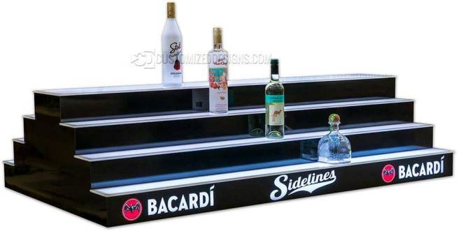 4 Tier 2 Sided Island Liquor Display w/ Bacardi Branding