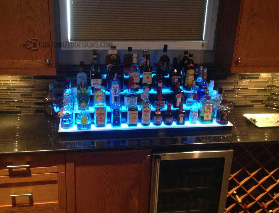 4 Tier Home Bar Bottle Shelf With lights
