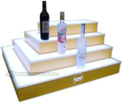 4 Tier 3 Sided Island Bar Display w/ Yellow Finish
