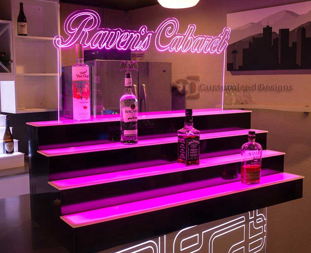 4 Tier Bottle Display w/ Edge Lit Sign