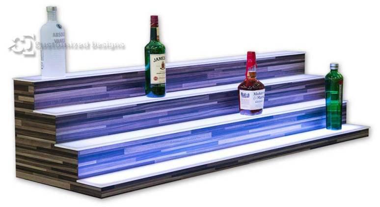 Liquor Shelves with 4 Tiers - Modern Edge Finish