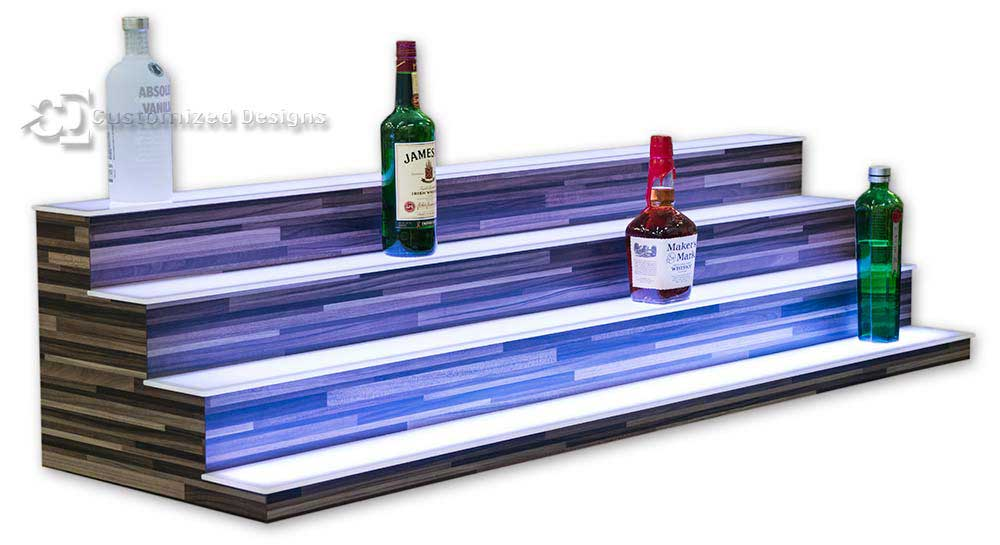 Liquor Shelves with 4 Tiers - Modern Edge Finish