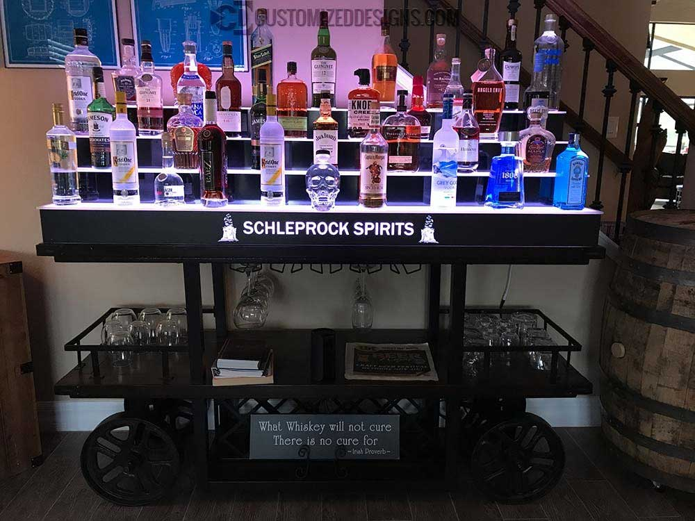 Home Wet Bar w/ 4 Tier Lighted Bottle Display