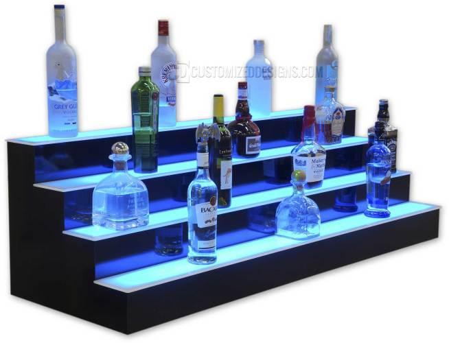 4 Step LED Lighted Liquor Shelves