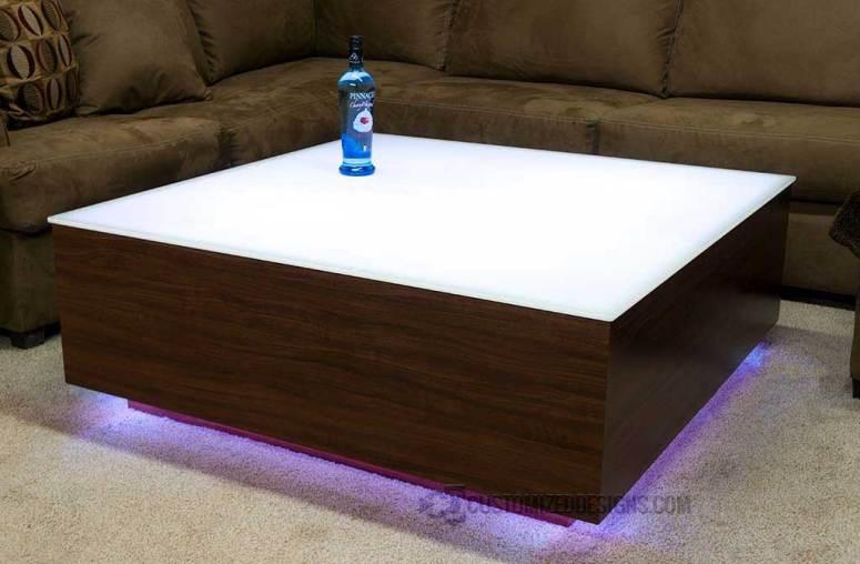 LED Coffee Table w/ Vantage Walnut Wood Finish