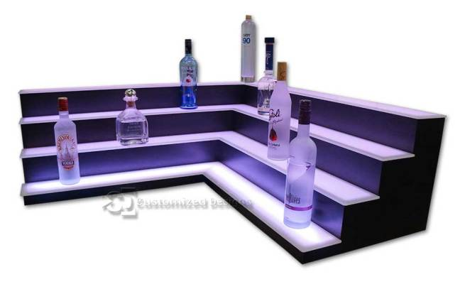 4 Tier Corner Style Back Bar Shelves - Low Profile