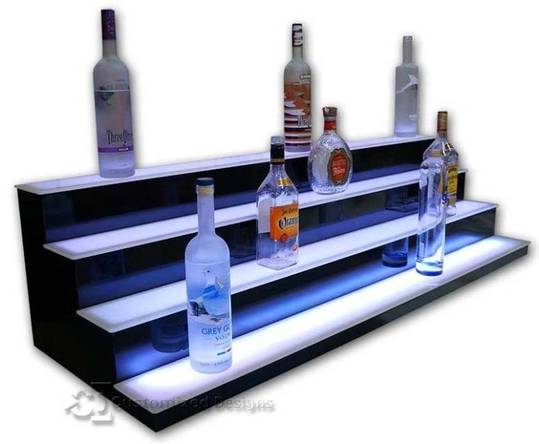 Four Step Low Profile Liquor Bottle Shelves