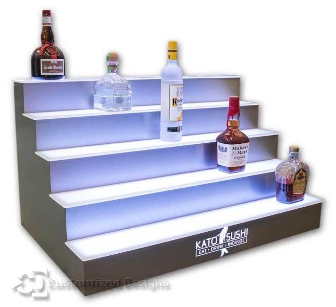 5 Tier LED Lighted Bar Shelves - Sushi Logo - Stainless Finish