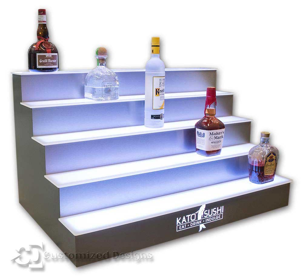 5 Tier LED Lighted Bar Shelves - Sushi Logo - Stainless Finish