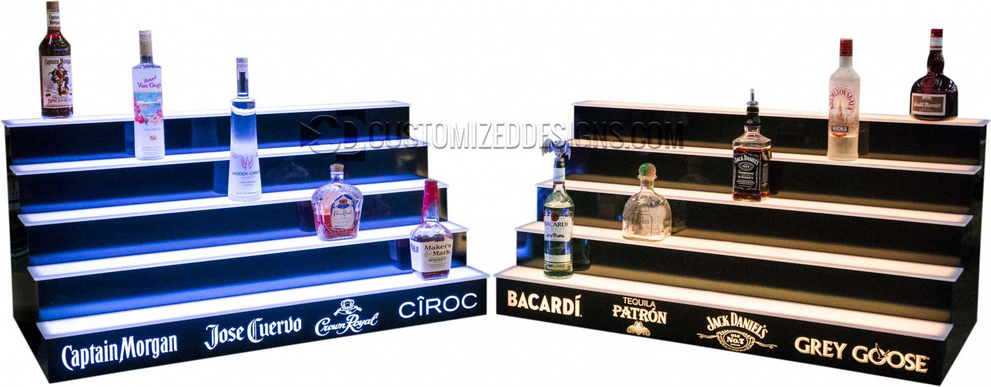 5 Tier Liquor Shelves w/ Multiple Liquor Brand Logos