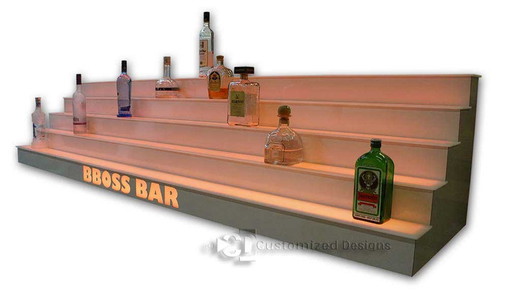 5 Tier LED Lighted Back Bar Shelving - White Finish